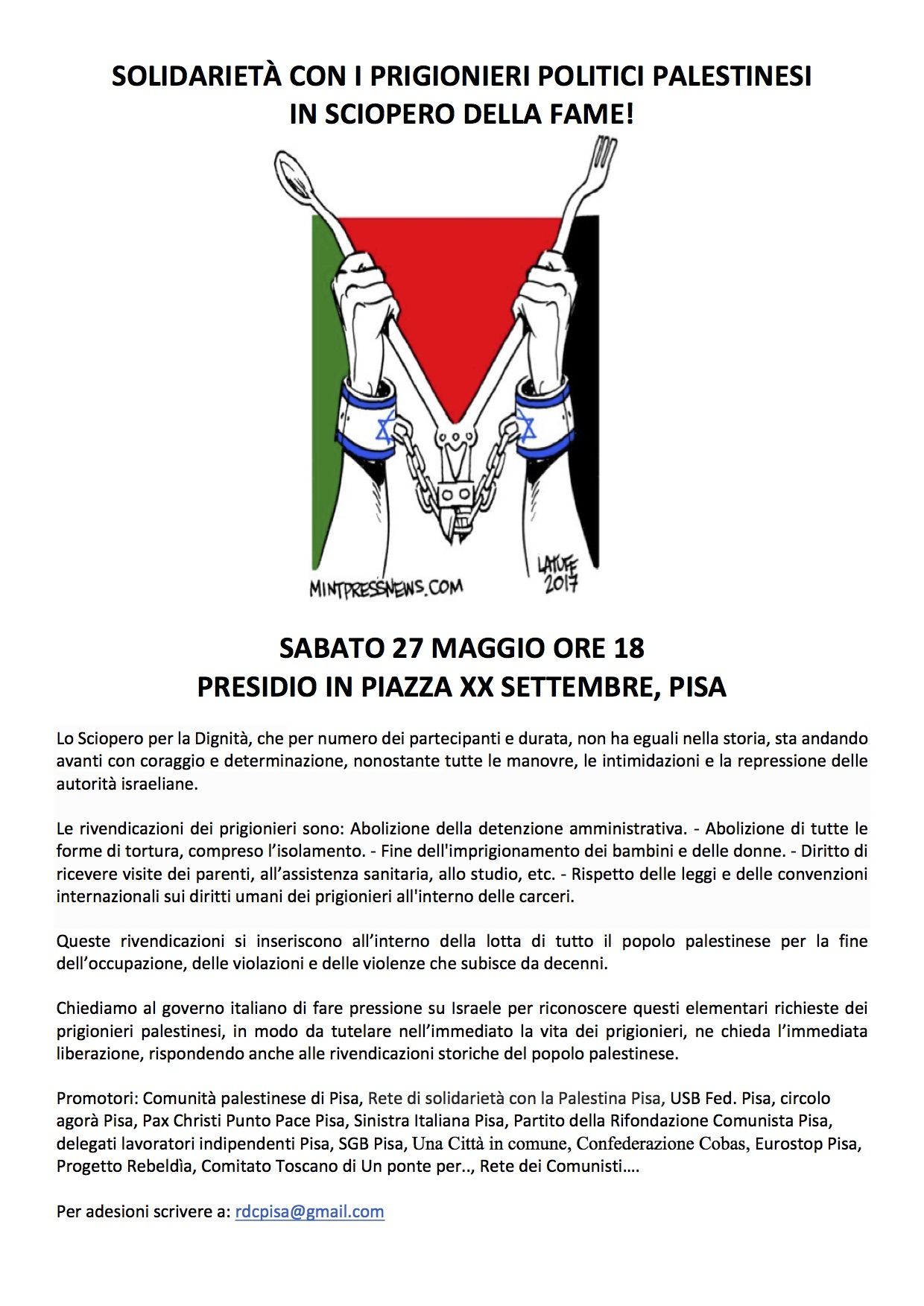 2 - Solidarietà con i prigionieri politici palestinesi in sciopero della fame