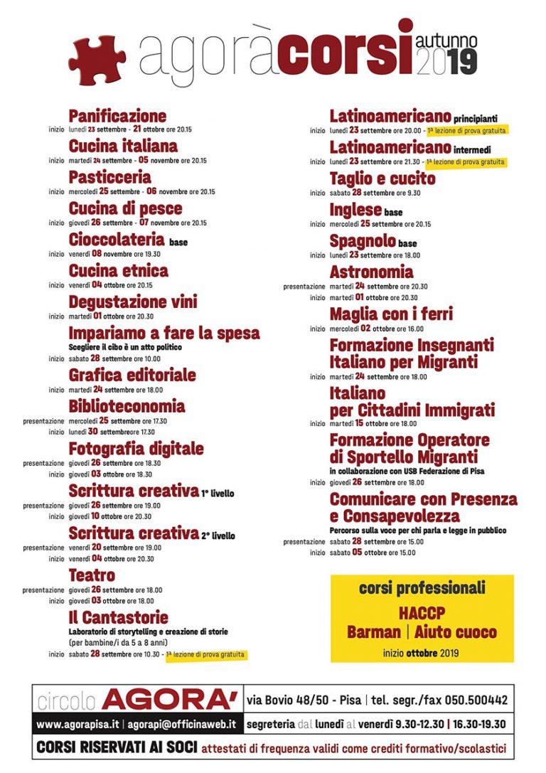 Calendario Lezioni Unipi.Circolo Agora Pisa